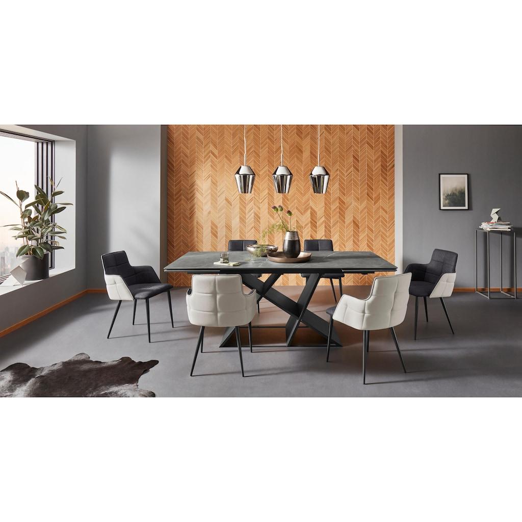 Places of Style Esszimmerstuhl »Iris«, 2er Set, mit schönem Webstoff Bezug, schwarzem Metallgestell, Sitzhöhe 45 cm