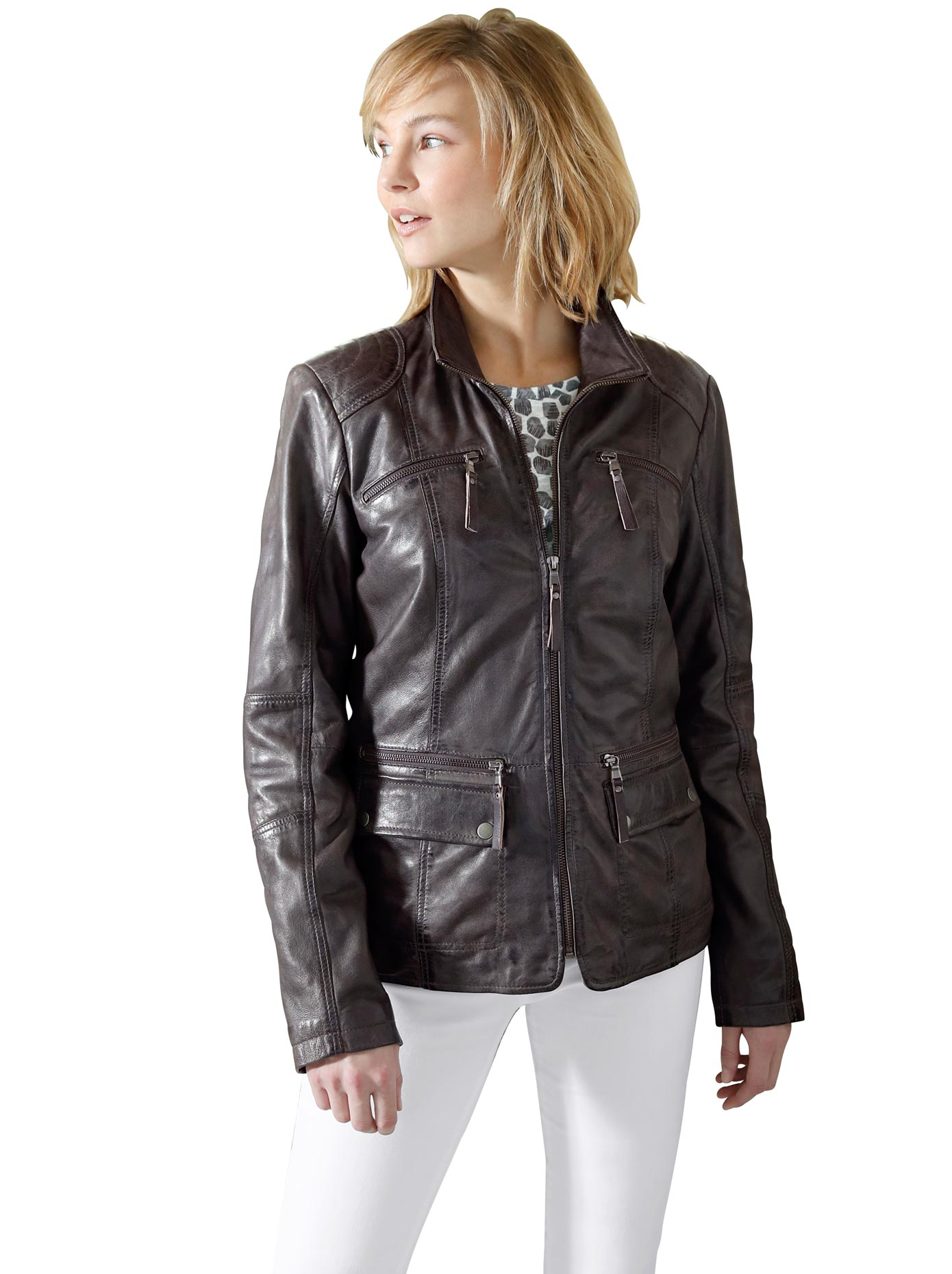 Classic Inspirationen Leder-Jacke aus handschuhweichem Leder   Accessoires   Grau   Leder   Classic Inspirationen