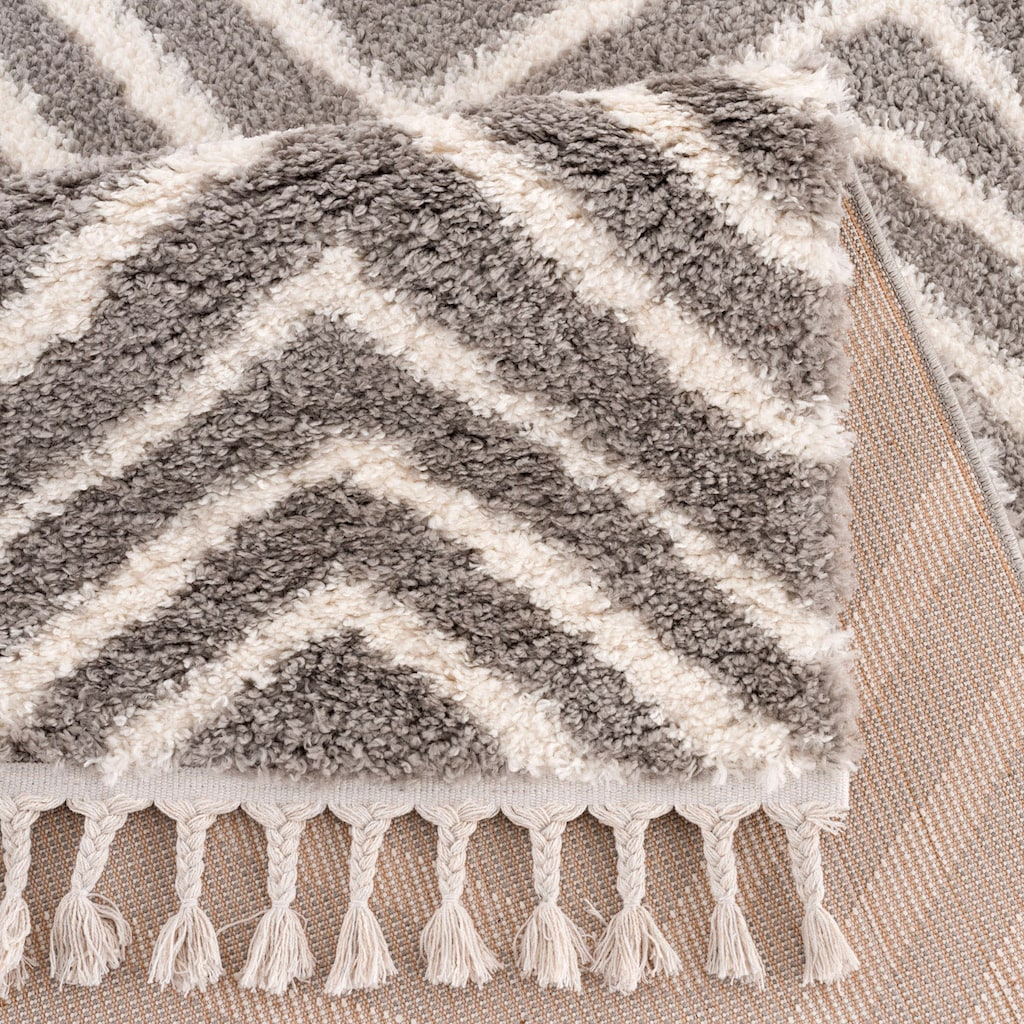 Carpet City Hochflor-Teppich »Pulpy 531«, rechteckig, 30 mm Höhe, mit Fransen, Wohnzimmer