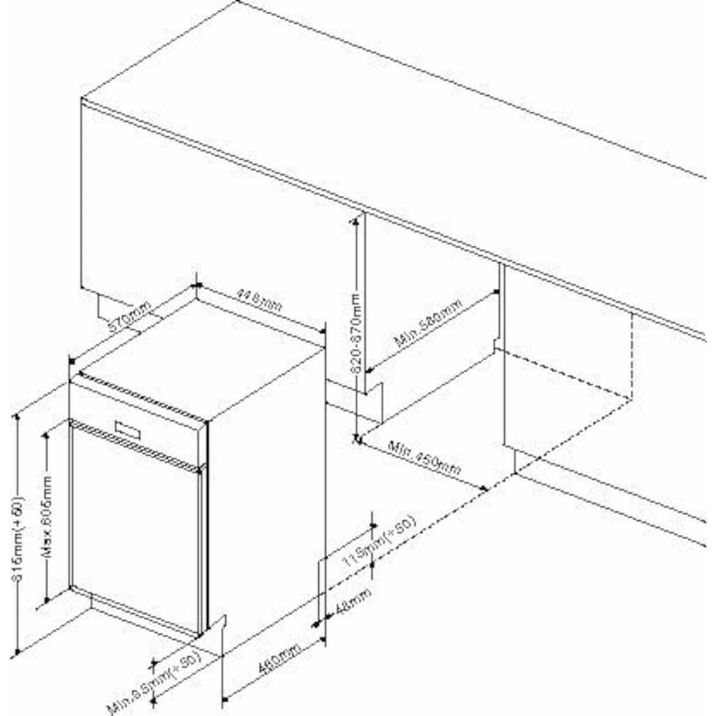 Amica teilintegrierbarer Geschirrspüler »EGSP 14695 E«, EGSP 14695-1 E, 9 Maßgedecke, LED-Display