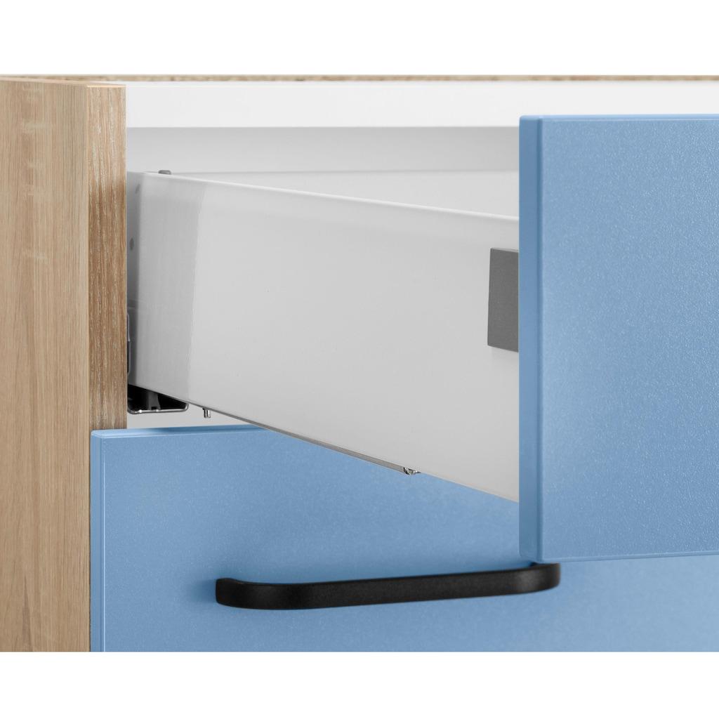OPTIFIT Küchenzeile »Elga«, ohne E-Geräte, Premium-Küche mit Soft-Close-Funktion, Vollauszug, höhenverstellbaren Füßen, Metallgriffen und 38 mm starker Arbeitsplatte, Breite 230 cm