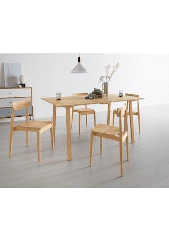 OTTO products Esstisch »Lennard«, aus massiver geölter Wildeiche, mit veganem und zertifizierten Bio-Öl behandelt, rechteckige Tischplatte, mit Schweizer Kante und eckigen Holzbeinen kaufen