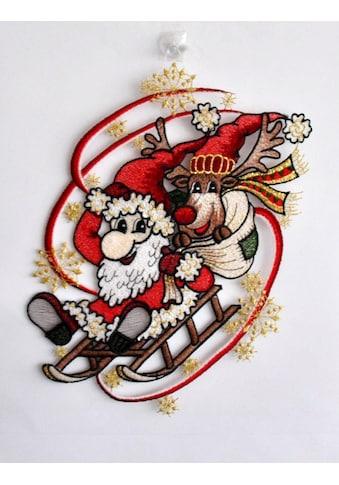 Stickereien Plauen Fensterbild »Weihnachtsmann mit Schlitten« (1 Stück) kaufen