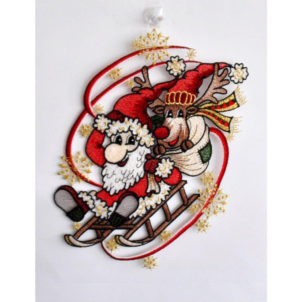 Stickereien Plauen Fensterbild »Weihnachtsmann mit Schlitten«