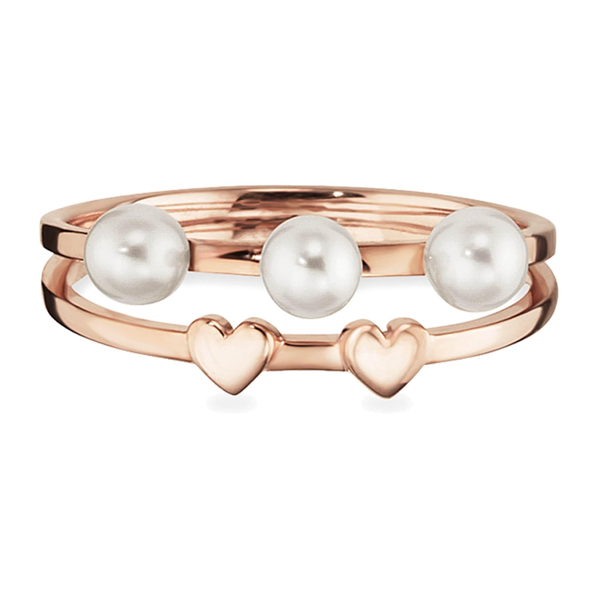 caï - CAÏ Perlenring 925/- Sterling Silber rotvergoldet Perlen