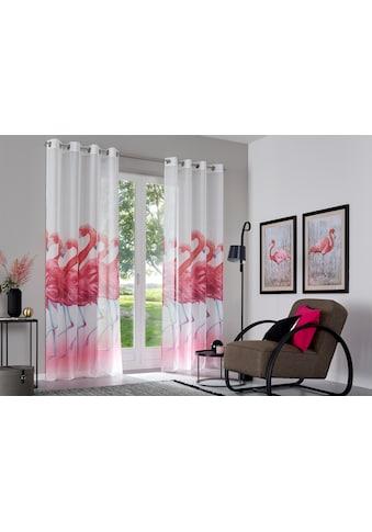 Gardine, »Flamingo«, my home, Ösen 2 Stück kaufen