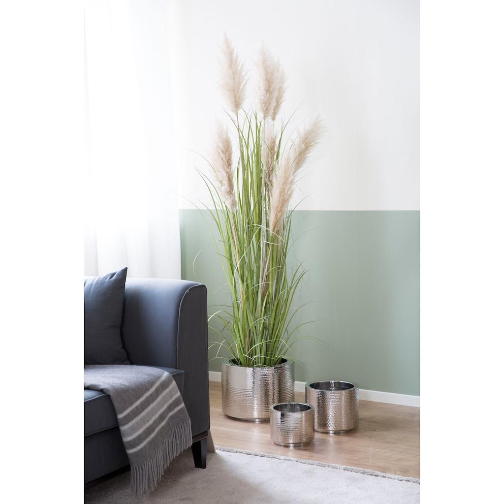 Fink Übertopf »NOSSA, silberfarben«, (1 St.), dekorativer Blumentopf, handgefertigt, aus Metall, mit Hammerschlagstruktur, in verschiedenen Größen erhältlich, In- und Outdoor geeignet