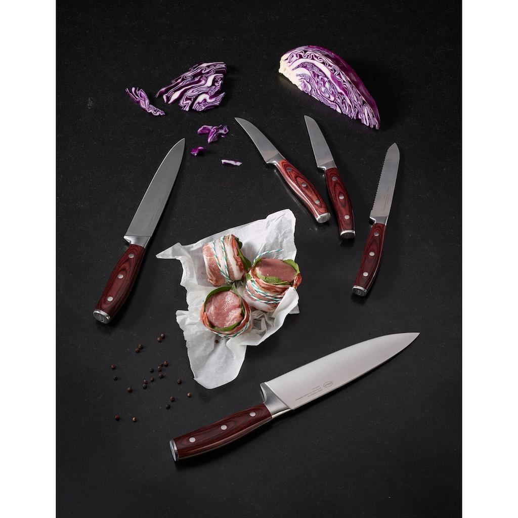 RÖSLE Schälmesser »Rockwood«, (1 tlg.), scharfes Küchenmesser zum Putzen und Schälen von Obst und Gemüse, Klingenspezialstahl, ergonomischer Griff, rotbraunes Pakkaholz
