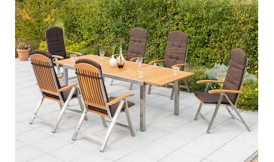 MERXX Diningset »Keros«, 7 - tlg., 6 Sessel, Tisch ausziehbar, Edelstahl, ohne Auflagen kaufen