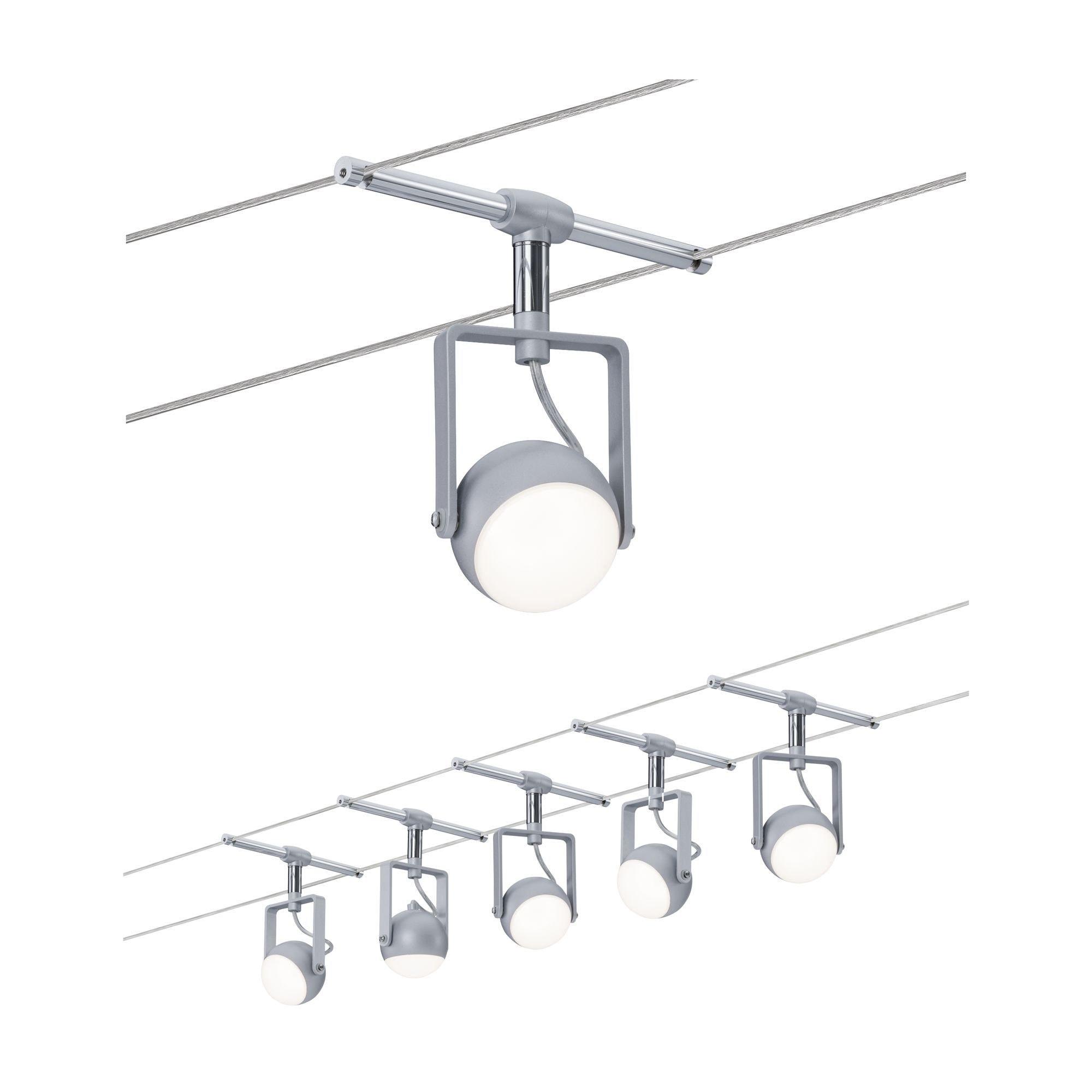 Paulmann LED Deckenleuchte Seilsystem OrbLED 5x4W Weiß/Schwarz/Chrom, 1 St., Warmweiß