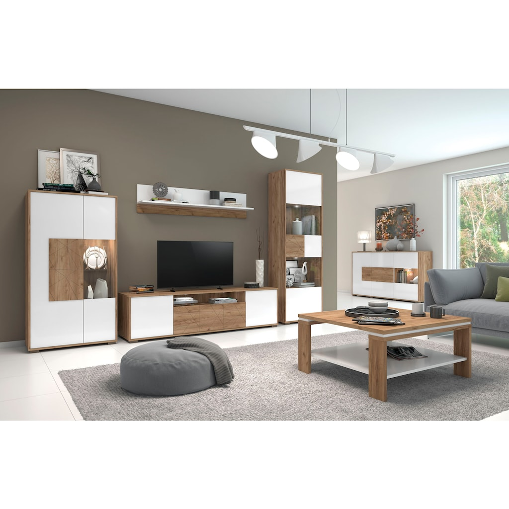 Places of Style Wandregal »Stela«, weiss UV-lackierte Front, Breite: 139 cm