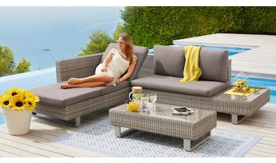 KONIFERA Loungeset »Long Beach New«, (11 tlg.), Ecklounge, Tisch 108x53 cm, Polyrattan kaufen
