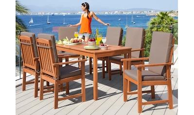 MERXX Gartenmöbelset »Montana«, 13 - tlg., 6 Sessel, Tisch 150x80 cm, Eukalyptus kaufen