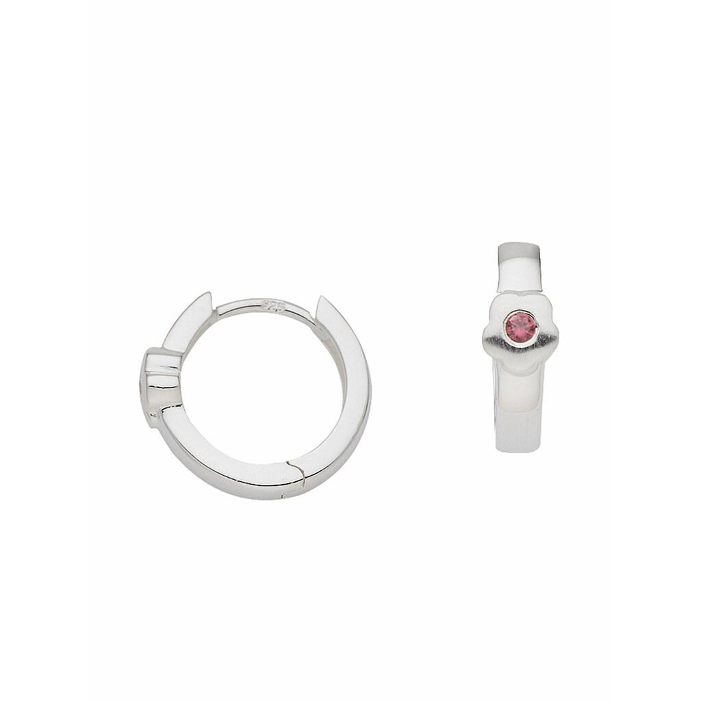 Adelia´s Paar Creolen »925 Silber Ohrringe / Creolen Blüte mit Zirkonia Ø 13,3 mm«, Silberschmuck für Damen