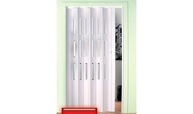 Kunststoff - Falttür , Höhe nach Maß, weiß mit Fenstern im Facettenschliff kaufen