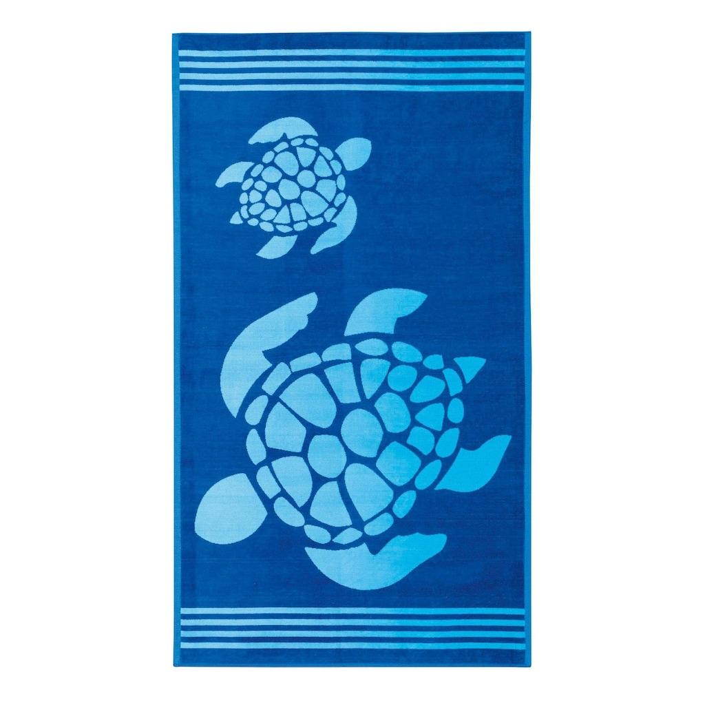 Delindo Lifestyle Strandtuch »Tropical«, (1 St.), mit jacquard-gewebtem Motiv Turtle