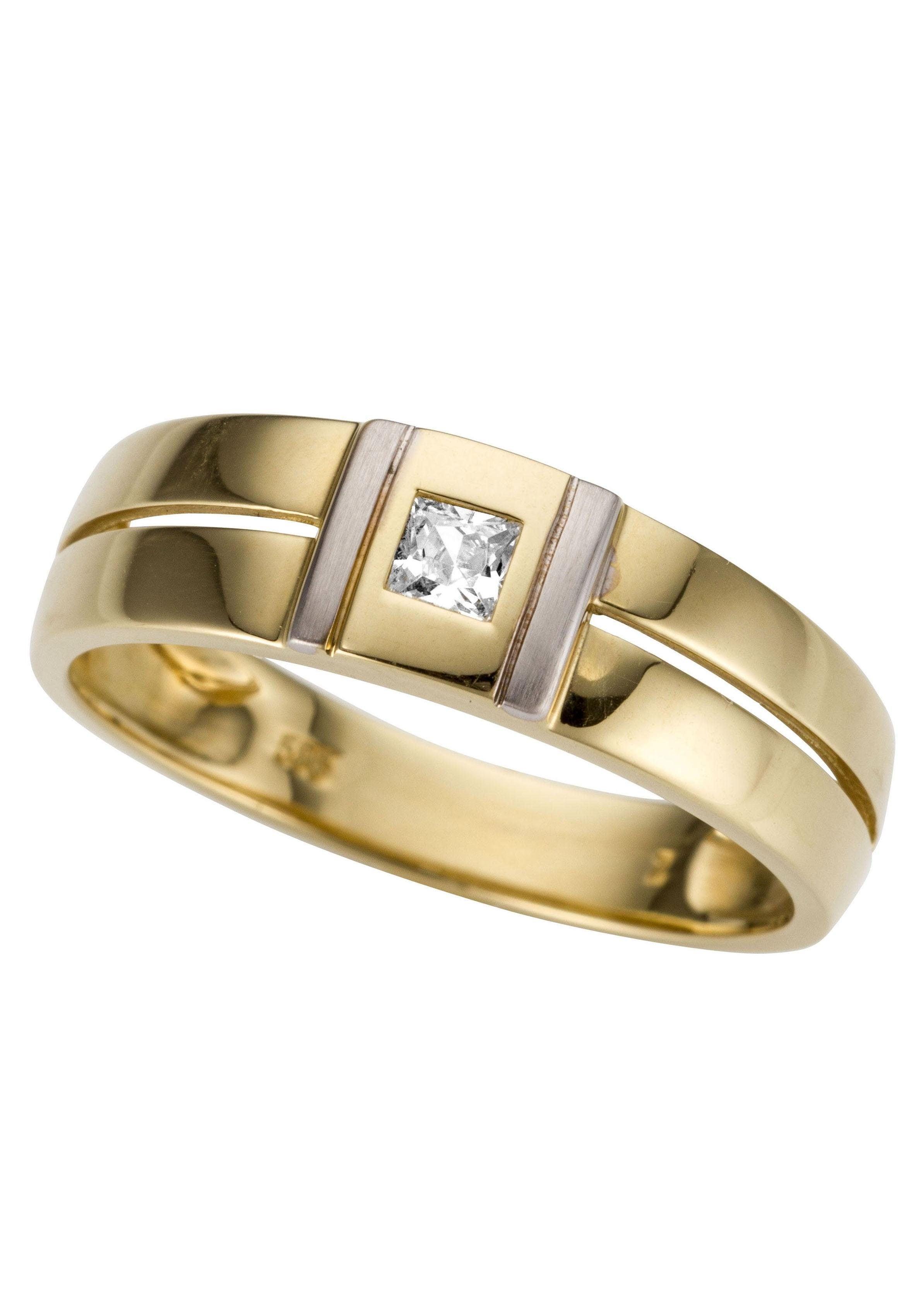 Firetti Goldring bicolor glanz rhodiniert massiv teilweise mehrreihig quadratisch | Schmuck > Ringe > Goldringe | Firetti