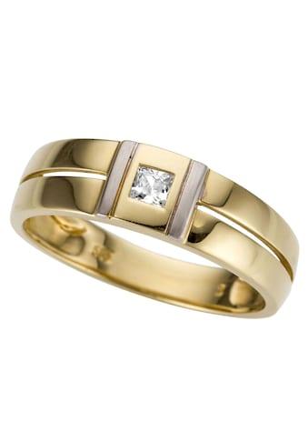Firetti Goldring »bicolor, glanz, rhodiniert, massiv, teilweise mehrreihig, quadratisch« kaufen