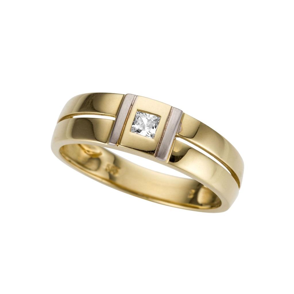 Firetti Goldring »bicolor, glanz, rhodiniert, massiv, teilweise mehrreihig, quadratisch«, mit Zirkonia