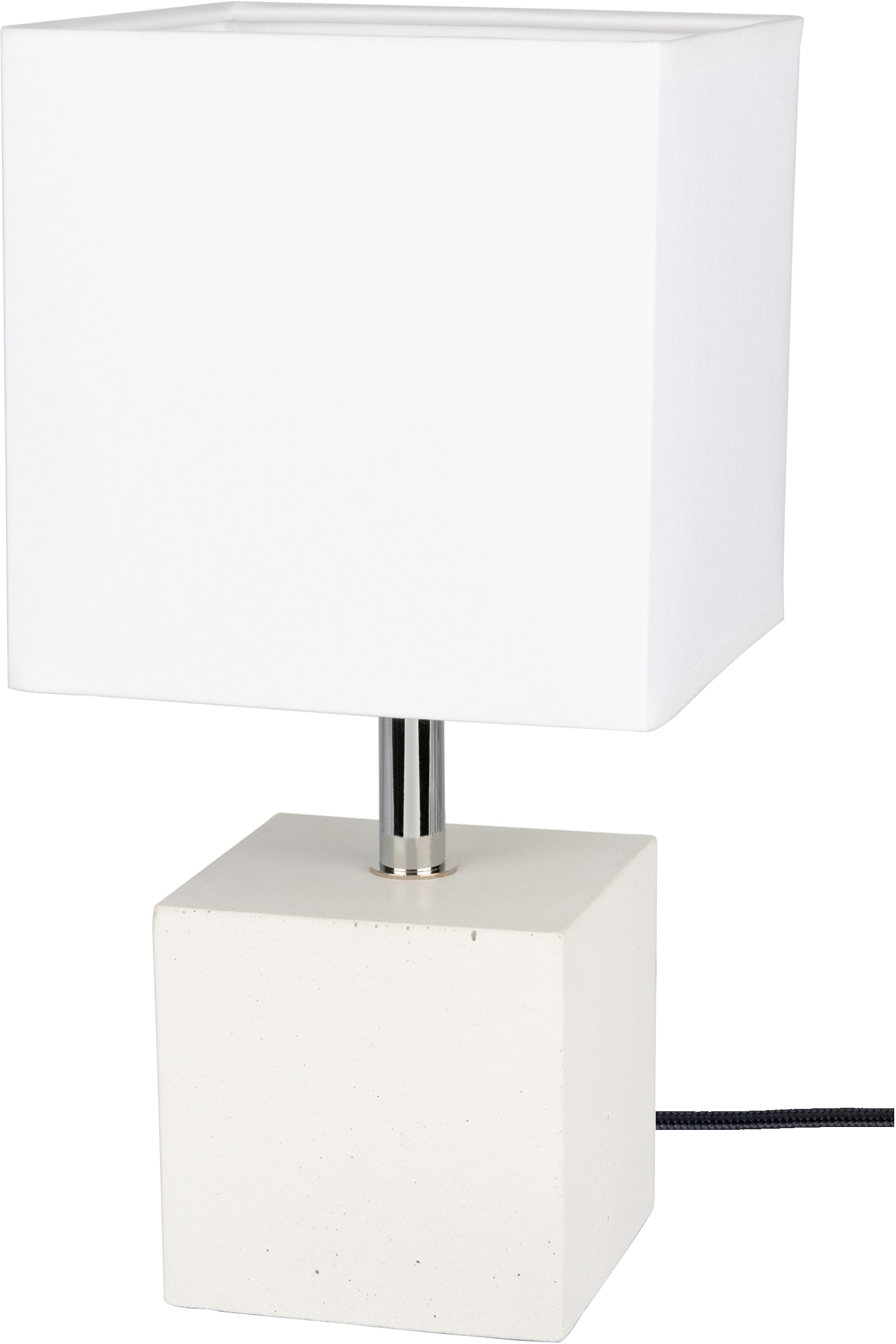 SPOT Light Tischleuchte STRONG, E27, 1 St., Basis aus weißem Beton, Textilschirm, Naturprodukt - Nachhaltig, Made in EU