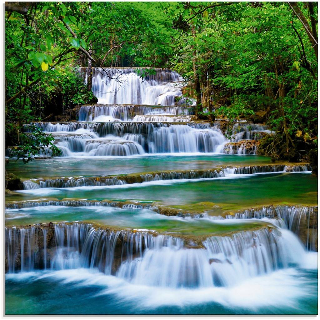Artland Glasbild »Tiefen Wald Wasserfall«, Gewässer, (1 St.)