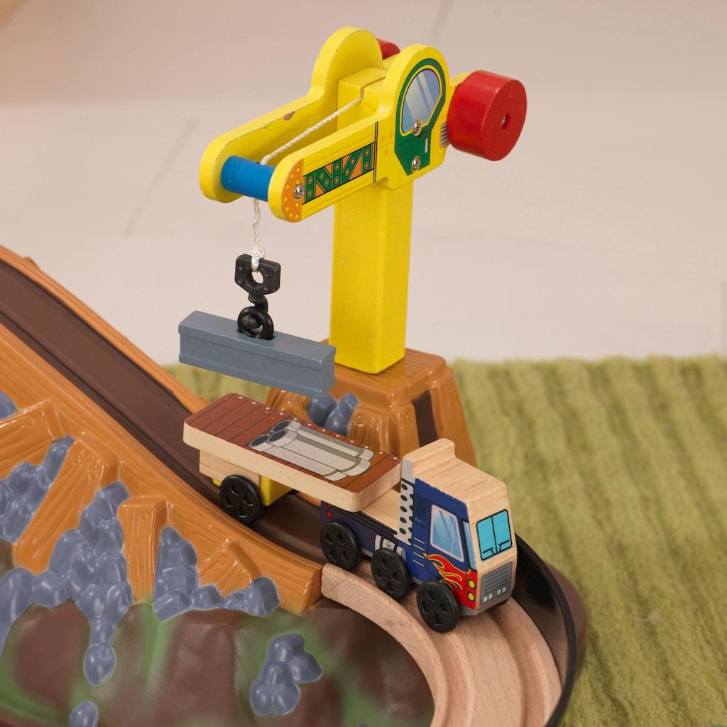 KidKraft® Spielzeug-Eisenbahn »Eisenbahnset Baustelle mit Aufbewahrungsbox«