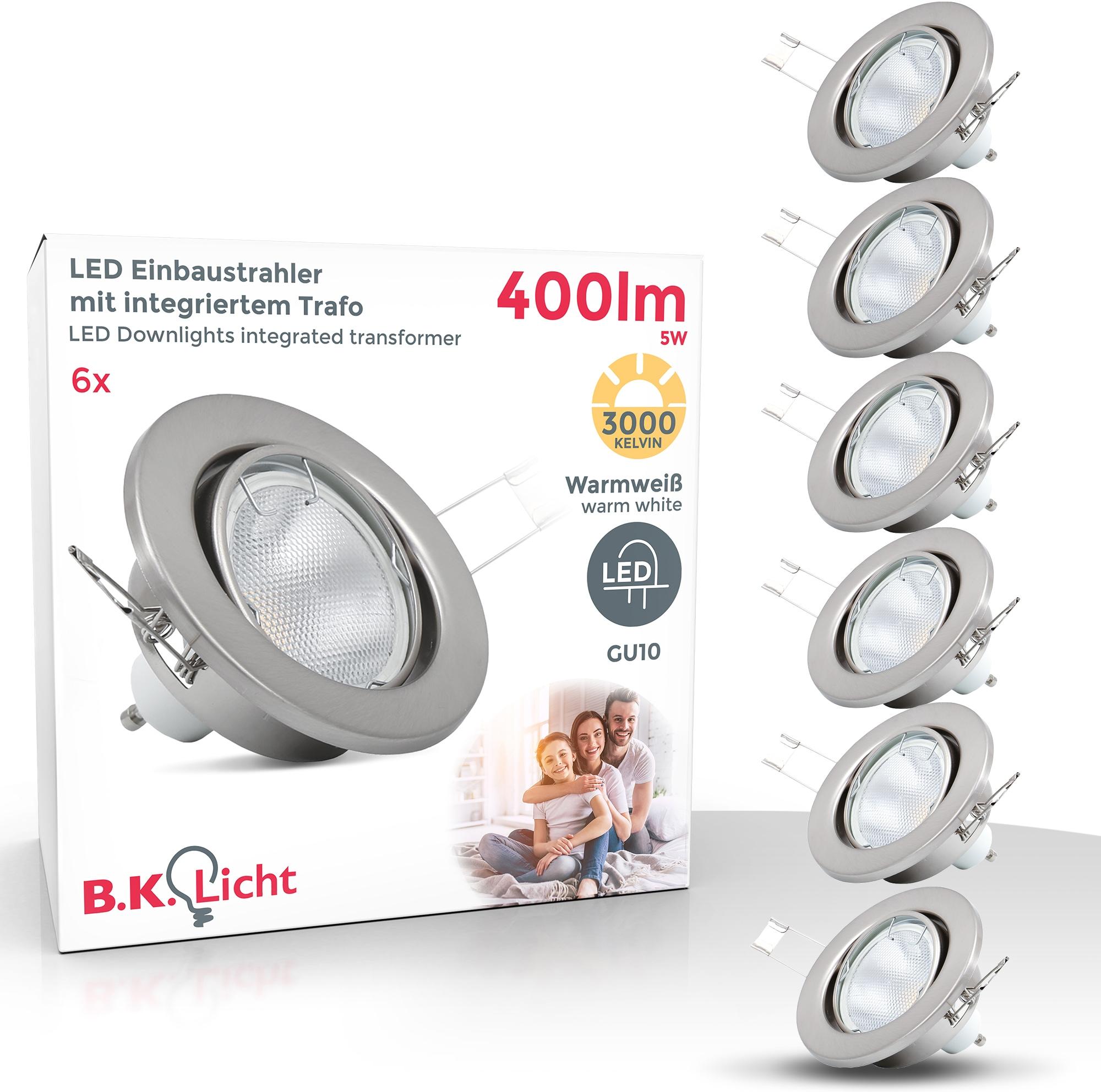 B.K.Licht LED Einbaustrahler, GU10, 6 St., Warmweiß, LED Einbauleuchte schwenkbar Nickel matt Decken-Spot Einbau-Leuchte GU10 inkl. 5W 400lm