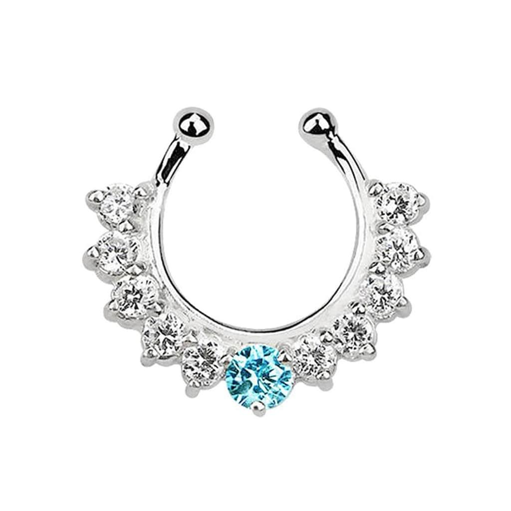 Adelia´s Nasenpiercing »Nasenpiercing Fake Ring Septum Silber mit 11 Steinen«, Mit 11 Steinen