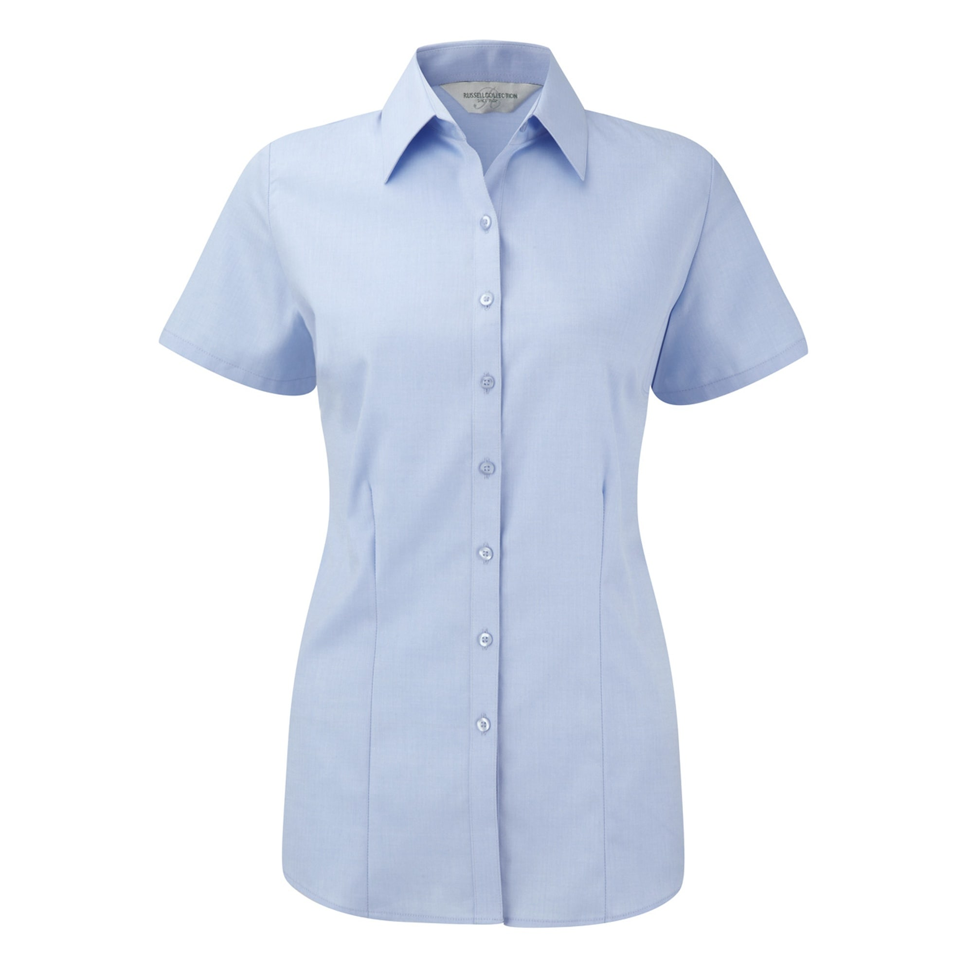 Russell Kurzarmbluse Damen Bluse / Hemd mit dezentem Fischgrätenmuster kurzärmlig