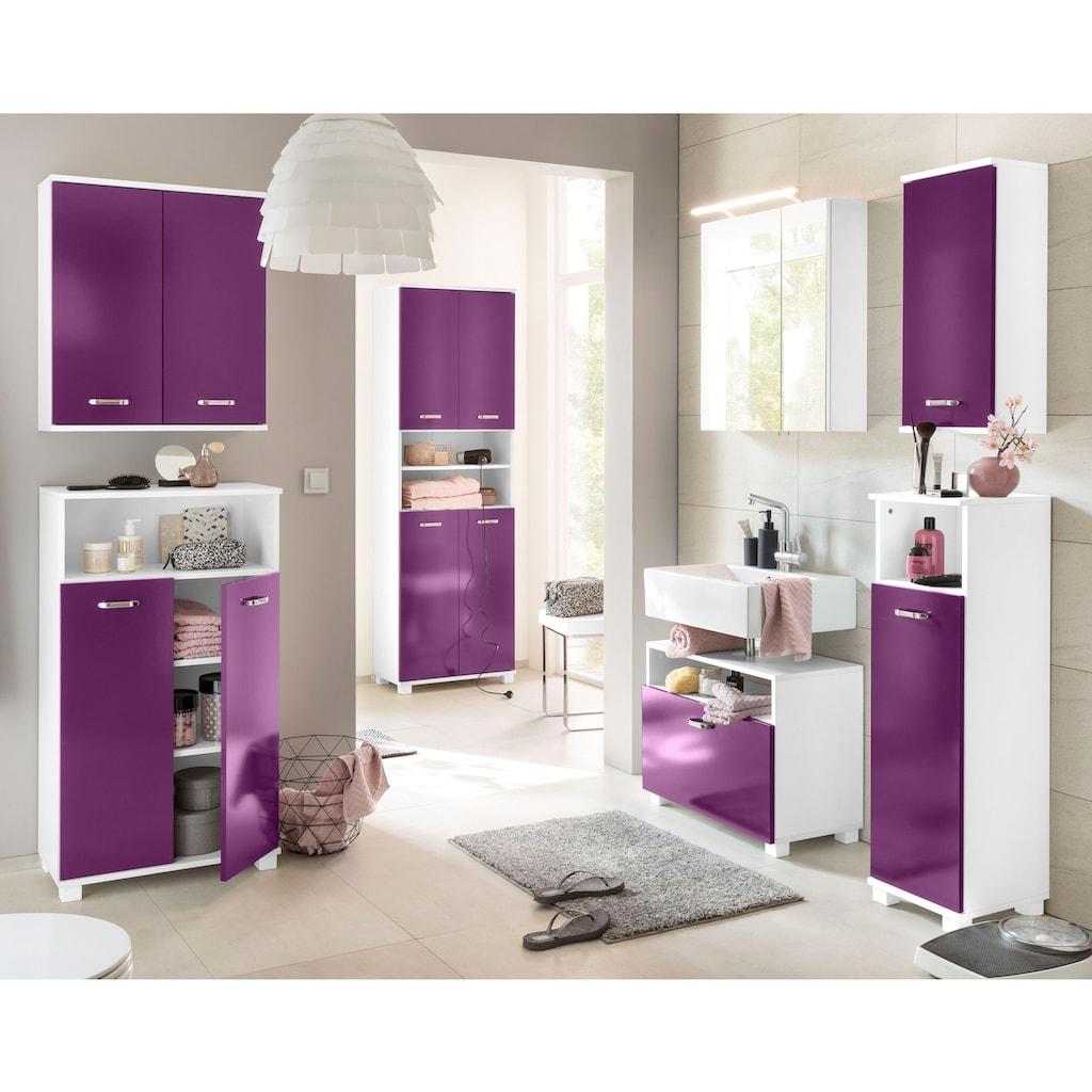 Schildmeyer Badmöbel-Set »Colli«, (Set, 3 tlg.), aus Hochschrank, Waschbeckenunterschrank und Hängeschrank, Badezimmerschränke mit Metallgriffen und viel Stauraum