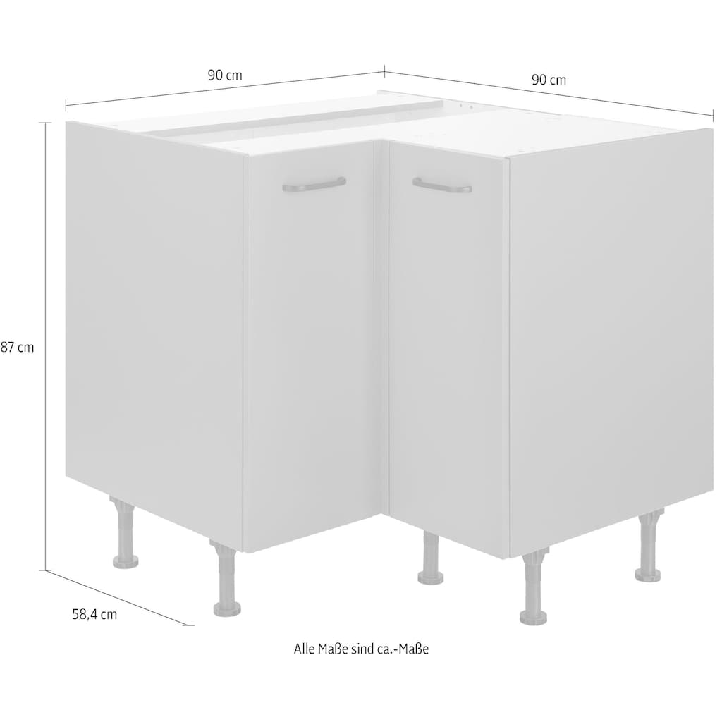 OPTIFIT Eckunterschrank »Elga«, mit Soft-Close-Funktion, höhenverstellbaren Füßen und Metallgriffen, Breite 90x90 cm
