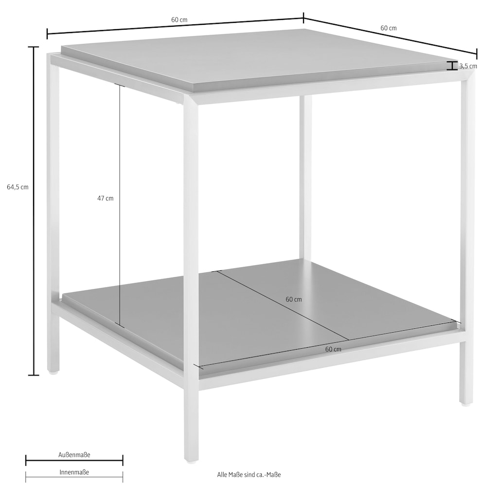 Leonique Beistelltisch »Cherlen«, mit zwei Ablageflächen und goldfarbenem Gestell, quadratisch, auch als Nachttisch