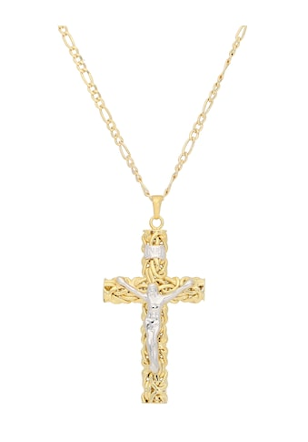 Vivance Kette mit Anhänger »Kette mit Kreuzanhänger«, strukturiertes Kreuz, bicolor kaufen