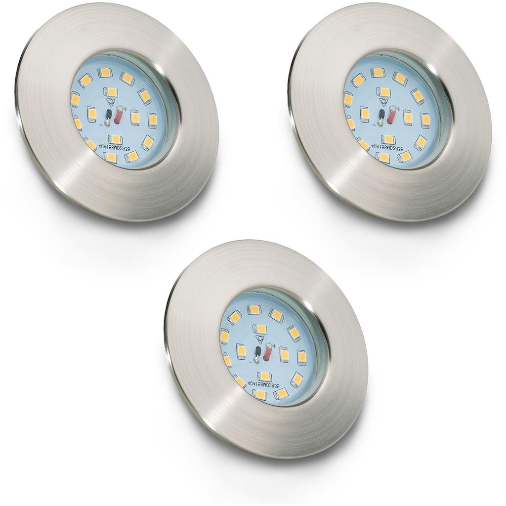 B.K.Licht LED Einbauleuchte »Elias«, LED-Board, Warmweiß, LED Einbaustrahler ultra-flach Badezimmer IP44 Decken-Spot GU10 3er SET