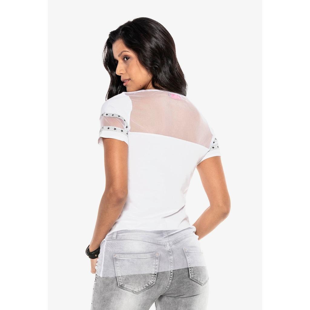Cipo & Baxx T-Shirt, mit stylischem Mesh-Einsatz