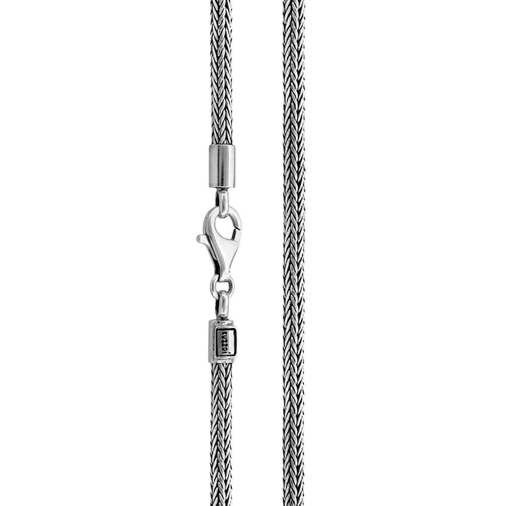 Kuzzoi Silberkette »Männer Zopf Schlangenkette 4mm Oxidiert 925 Silber«