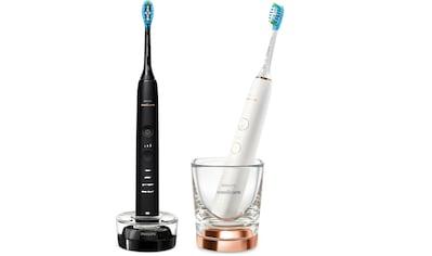 Philips Sonicare Elektrische Zahnbürste »HX9914/57«, 2 St. Aufsteckbürsten, DiamondClean Premium Schallzahnbürste, Doppelpack inkl. Ladeglas kaufen