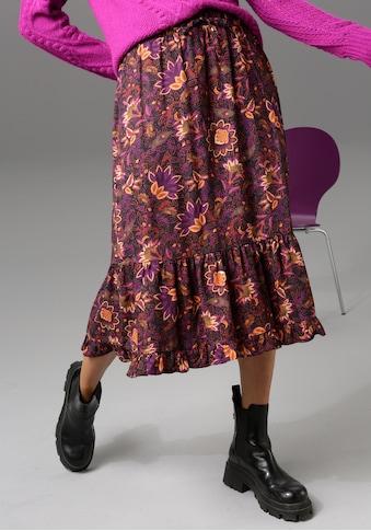 Aniston CASUAL Volantrock, mit farbharmonischem Blumendruck - NEUE KOLLEKTION kaufen