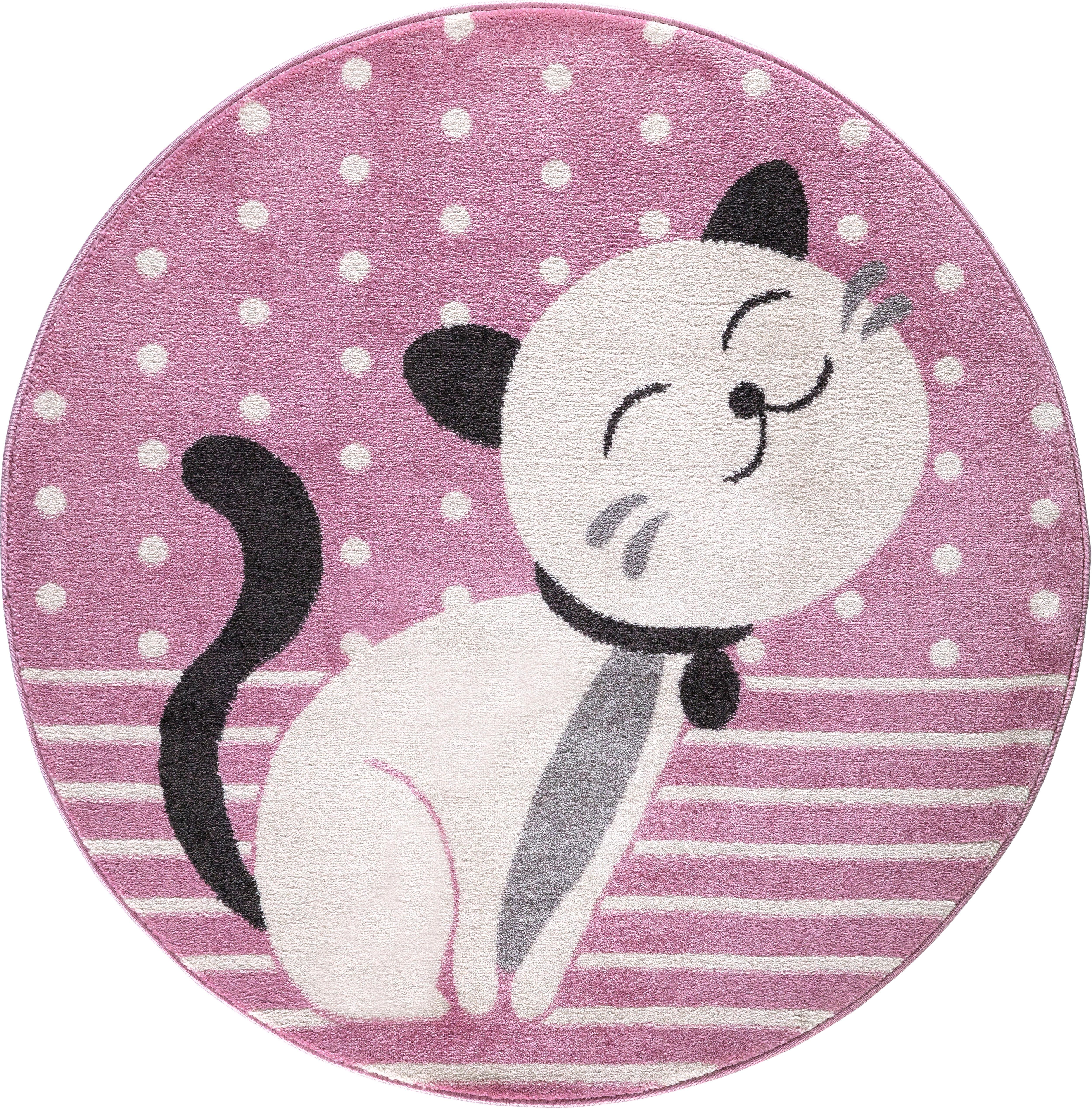 Festival Kinderteppich Candy 158, rund, 11 mm Höhe, Motiv Katze rosa Kinder Kinderteppiche mit Teppiche