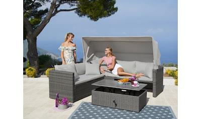 MERXX Loungeset »San Marco«, 15 - tlg., Ecklounge, Tisch 110x60x35 - 57 cm, Polyrattan/Akazie kaufen