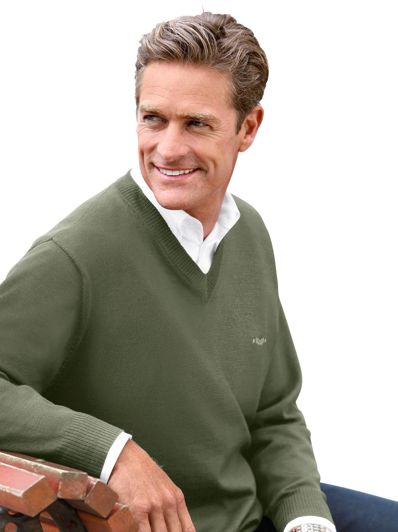Classic V-Pullover im edlen Feinstrick   Bekleidung > Pullover > V-Pullover   Grün   Schurwolle   Classic