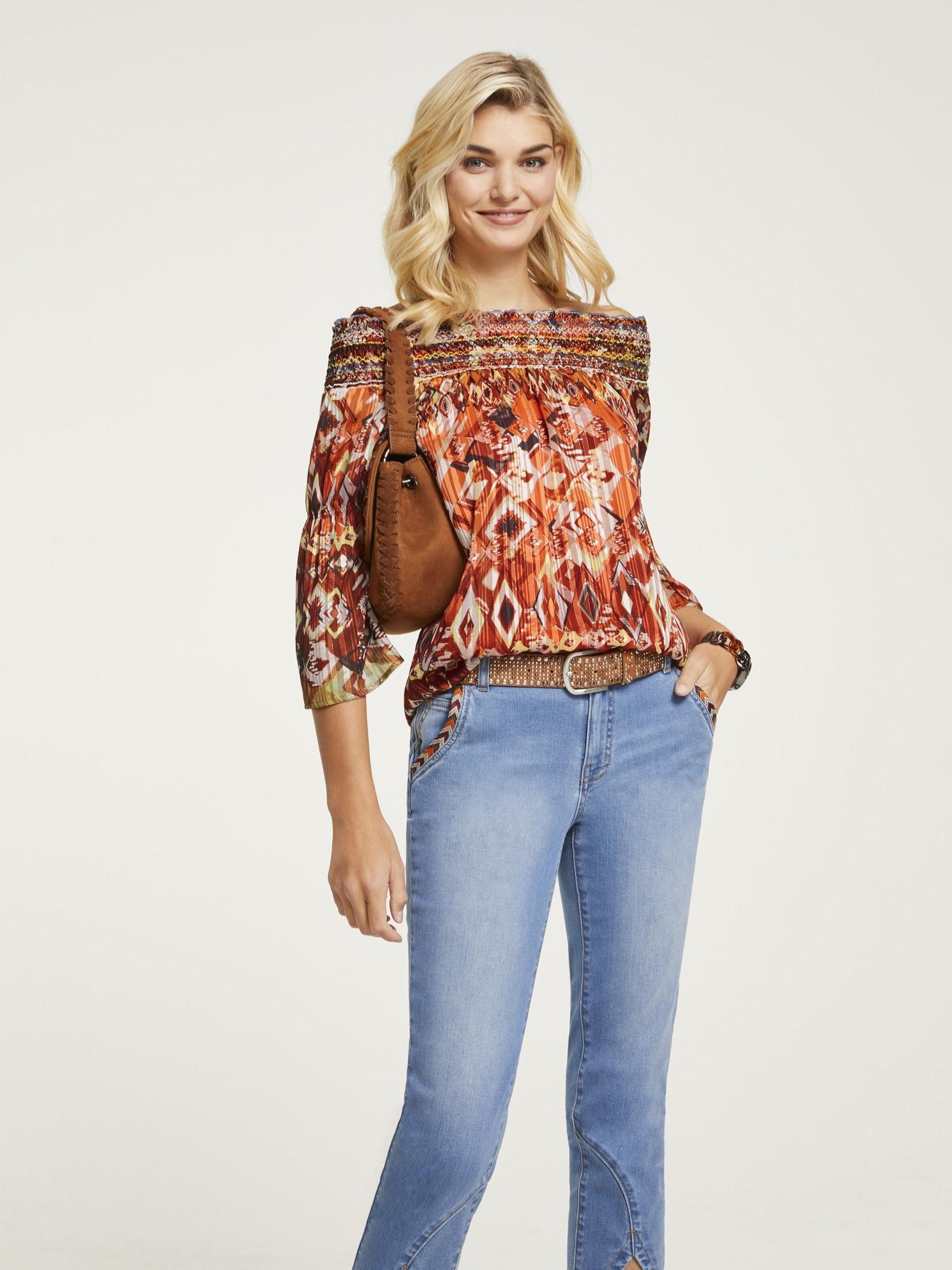 LINEA TESINI by Heine Carmenbluse, mit Carmen-Ausschnitt orange Damen Carmenbluse Carmenshirts Shirts Sweatshirts