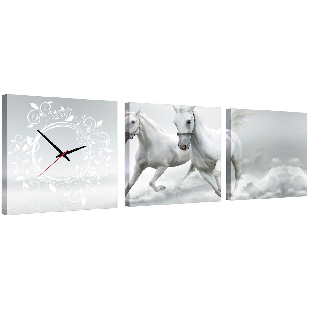 Conni Oberkircher´s Bild »Horses«, Pferde, (Set), mit dekorativer Uhr