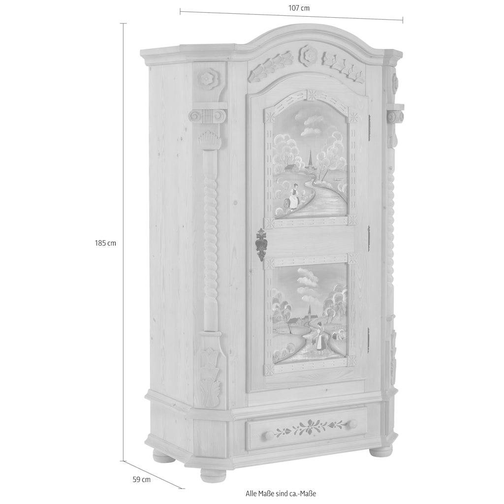 Premium collection by Home affaire Garderobenschrank »Teisendorf«, wahlweise mit besonderer Handbemalung, oder im schlichten Design bestellbar, Höhe 185 cm