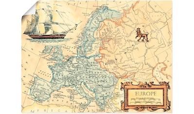 Artland Wandbild »Europakarte«, Landkarten, (1 St.), in vielen Größen & Produktarten - Alubild / Outdoorbild für den Außenbereich, Leinwandbild, Poster, Wandaufkleber / Wandtattoo auch für Badezimmer geeignet kaufen