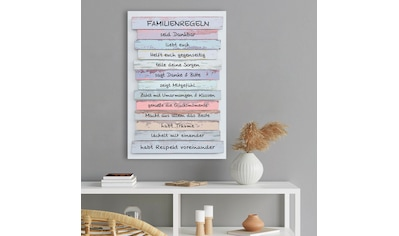 Holzbild »Deco Panel 60x90 Familien Regeln« kaufen