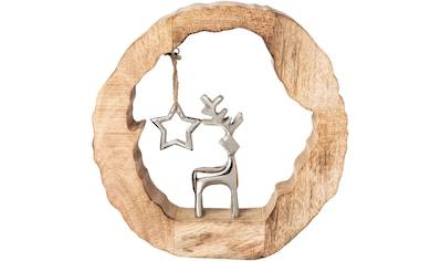 Dekoobjekt »Holzstamm mit Hirsch und Stern« kaufen