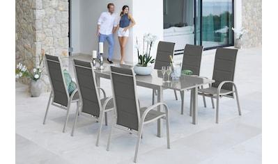 MERXX Gartenmöbelset »Amalfi Deluxe«, 7 - tlg., 6 Sessel, Ausziehtisch 150 - 220x90, Alu/Textil kaufen