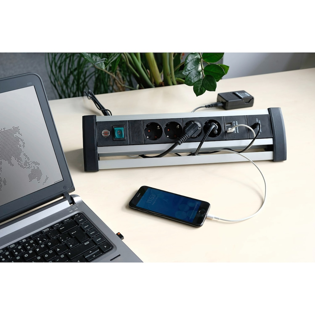 Brennenstuhl Steckdosenleiste »Alu-Office-Line«, 4-fach, (Ein- / Ausschalter-Schalterbeleuchtung-USB-Anschlüsse Kindersicherung-Schutzkontaktstecker Kabellänge 1,8 m), Power Delivery - Ladefunktion