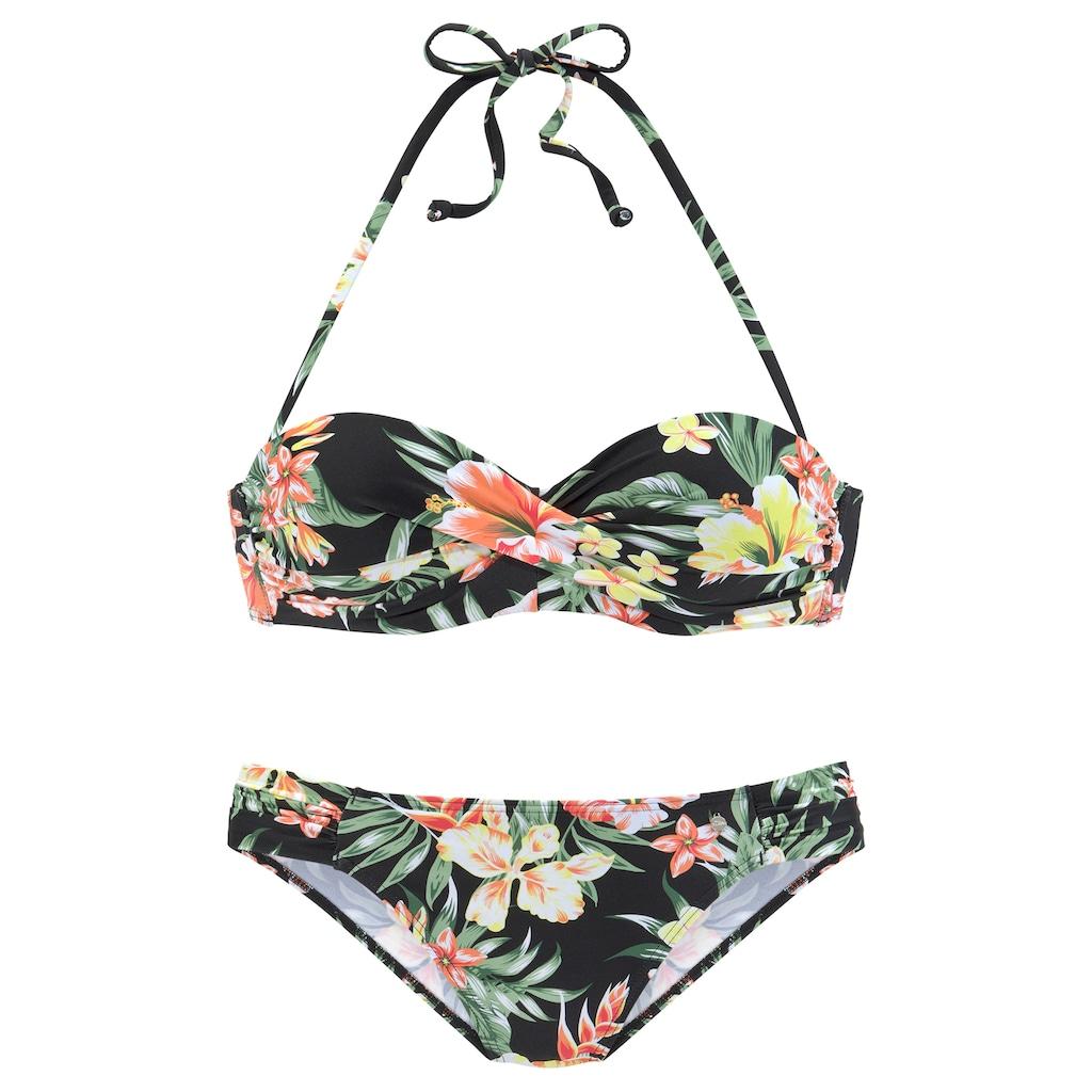 s.Oliver Bügel-Bandeau-Bikini, mit aktuellem Tropenprint